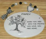 Family Ceramic Wall Plaque With Beads