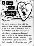 I Love You Sister Heart Easel Plaque with Magnet