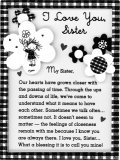 I Love You Sister Floral Easel Plaque