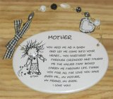 Mother Ceramic Wall Plaque With Beads