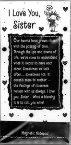 I Love You Sister Magnetic Notepad